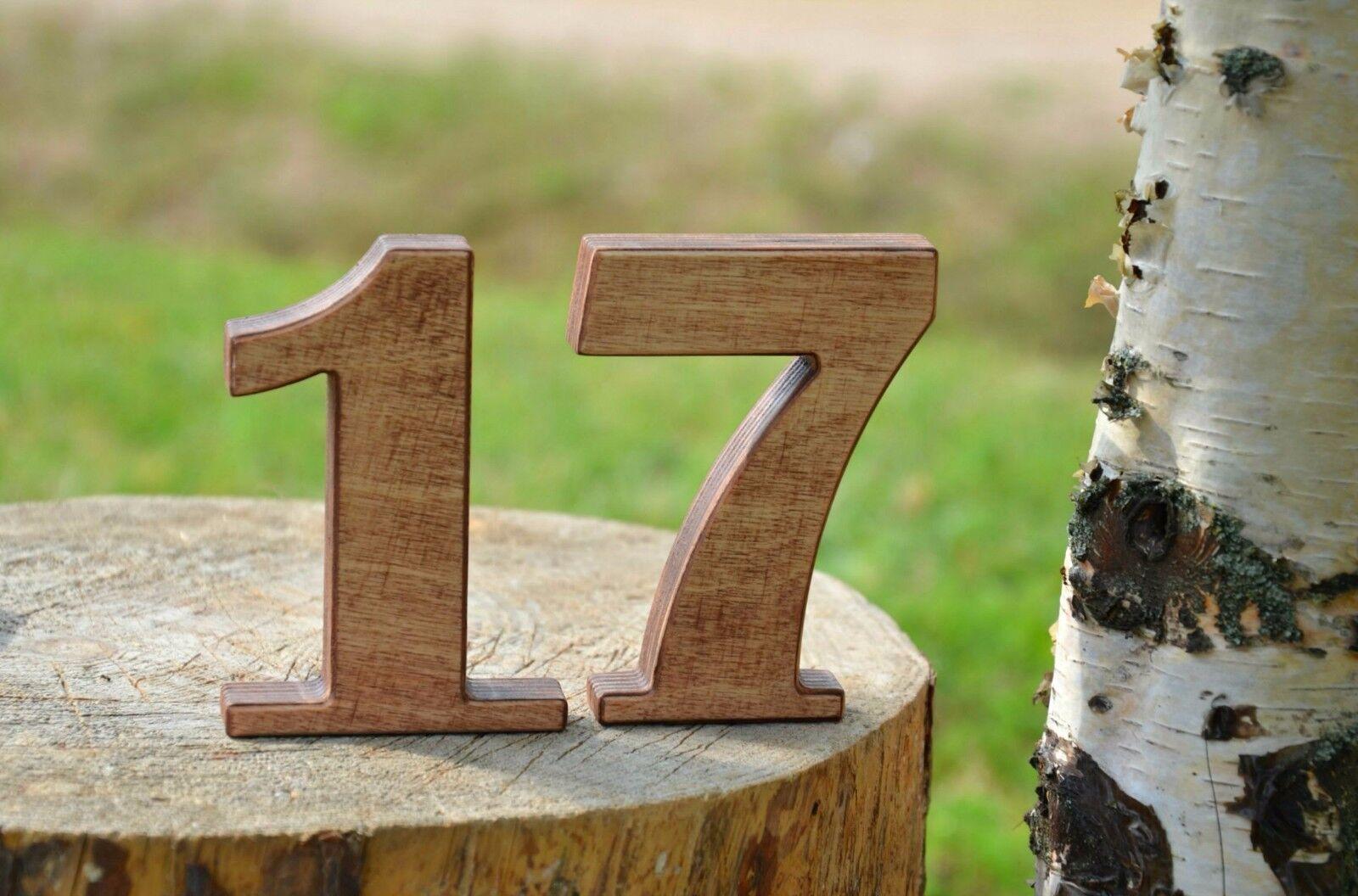 1-15 4'' Rustic Wooden Numbers, Free Standing Wedding Table Numbers