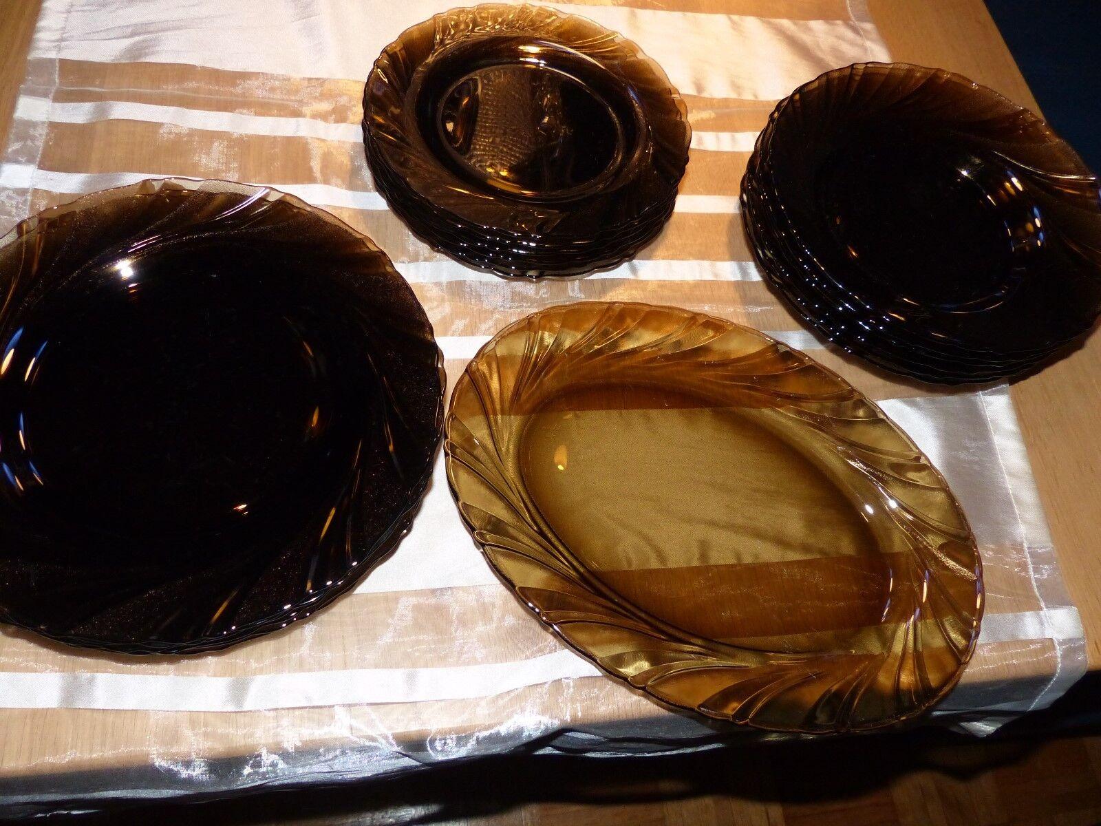 DURALEX FRANCE Hartglas Teller 19 Teile braun Amber