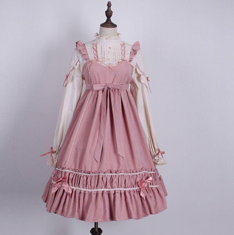 Women's Girl Lolita High Waist Bow Strappy Ruffle Dress Japanese Cosplay Dresses