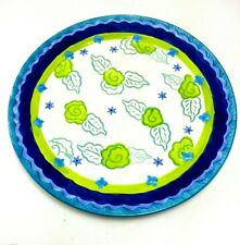 Kimberly Hodges Cupcakes And Cartwheels Plate Blue With Green Flowers and Leaves