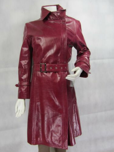 Burgundy Long Ladies Tight Glaze Slim Jacket Biker Bike Fashions Leather Fitted PqwqxdrUY