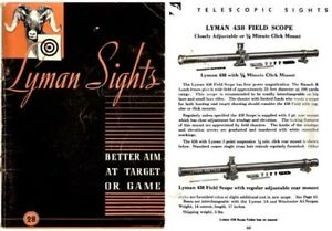 Image Is Loading Lyman 1942 Sights Catalog No 28
