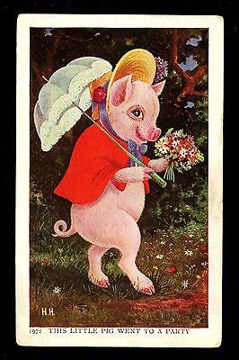 Jimmy Pig postcard Ullman Series #91 Artist Herman Anthropomorphic went to Party