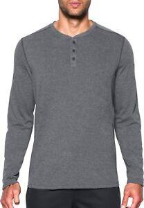 Details about Under Armour Men's Anthracite Gray UA Threadborne Henley Long Sleeve Shirt