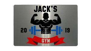 Personalised-Gym-Name-amp-Year-Metal-Aluminium-Sign-Plaque-Fitness-Door-5-Sizes