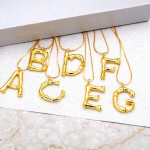 8320e27ecc9f 26 Letters Gold Plated Pendant Necklace Women Charm Clavicle Chain ...