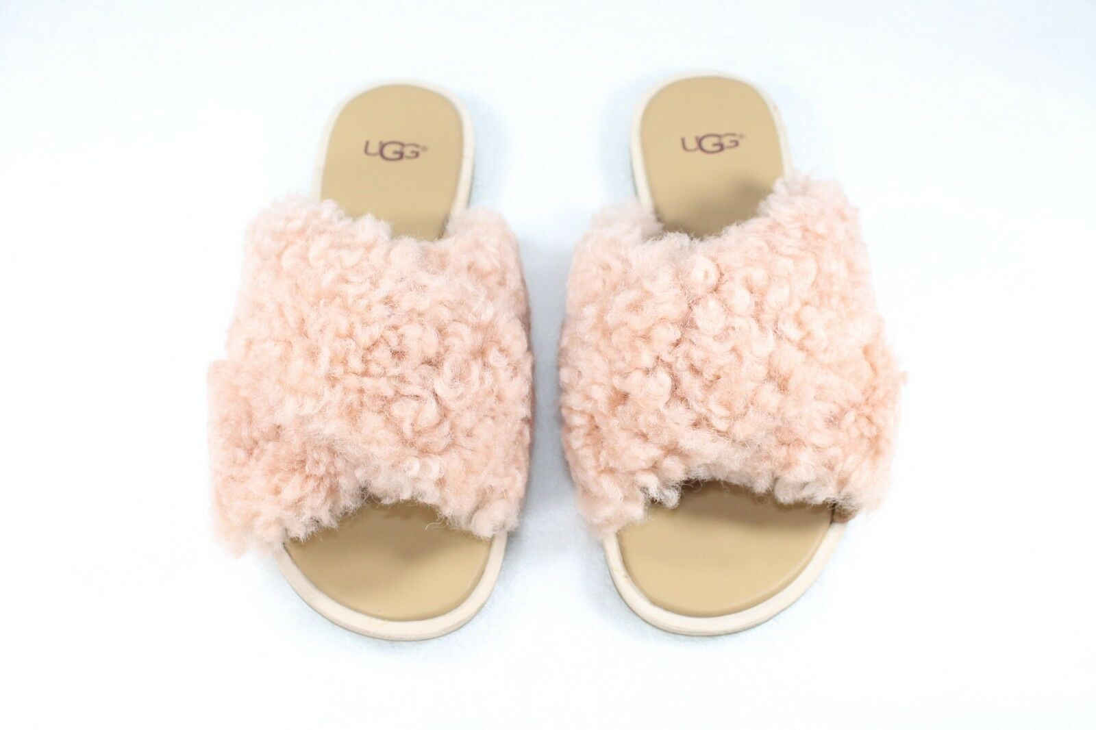 a2524965b4c UGG Australia Suntan Curly Sheepskin Leather Joni Slide Women's Sandals  1019967