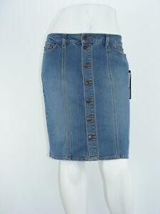 "DAISY FUENTES Jean Skirt Blue Denin STRETCH Front Button Pencil NWT Sz 4 - W30"""