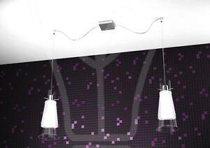 Lampadario sospeso design moderno cromo vetro satinato forma