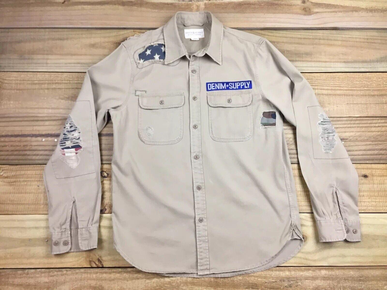 Ralph Lauren Denim & Supply Camo American Flag Patch Military L S Shirt M Tan