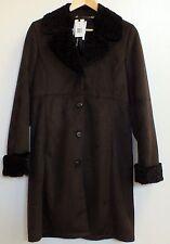 Trench Coat Jones New York Ladies Small Brown Faux Suede Lamb Fur Collar Jacket