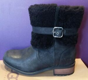 7267e934fb9 Details about NEW Women's UGG 1008220 Blayre II Boots Black Shearling  Buckle Size 6 Winter