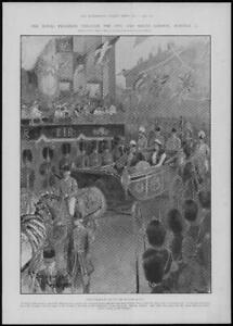 1902-Antique-Print-LONDON-Mansion-House-Majesties-Carriage-Horses-Footmen-150