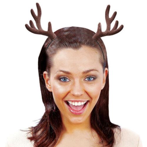 braun auf Haarreif beflockt NEU Rentiergeweih