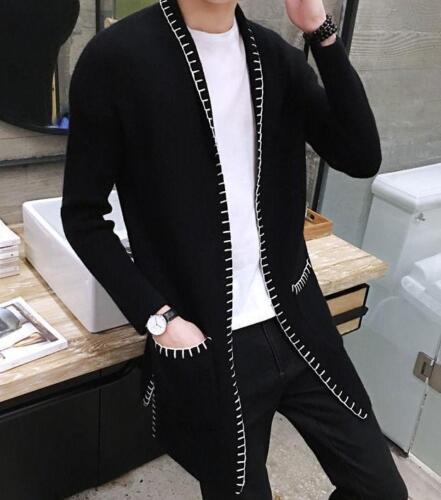 grigie cardigan di maglione nere a Cappotto lunghe del morbide righe eleganti aperte a maniche Czq4F4tw