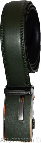 Men/'s belt Leather Automatic lock Buckle Green White an belt fits 26 to 50 inch
