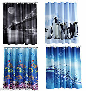 Quality-Nautical-Tropical-Fish-Polyester-Weighted-Hem-180x180cm-Shower-Curtain