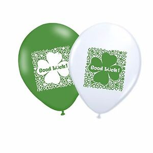 Good-Luck-10-034-Latex-Party-Decor-Balloons-White-amp-Green-Assorted-pack-of-10