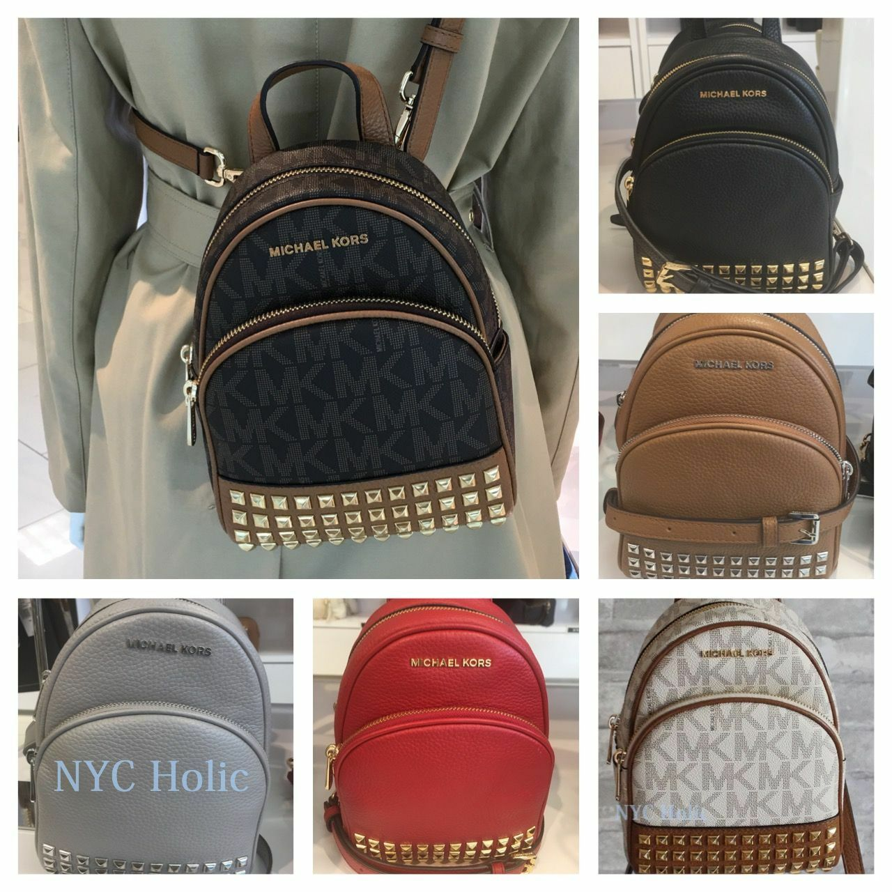 9ac81c9c6c Michael Kors Abbey XS Studded Backpack 35t7sayb1l Acorn for sale online