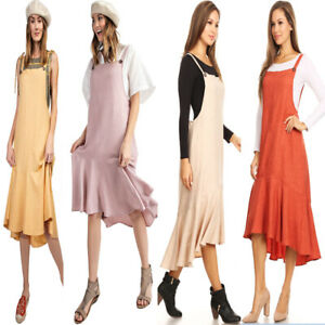 Fashion-Women-039-s-Button-Strap-Overall-Jumper-Pinafore-Peplum-Hem-Midi-Dress-skirt