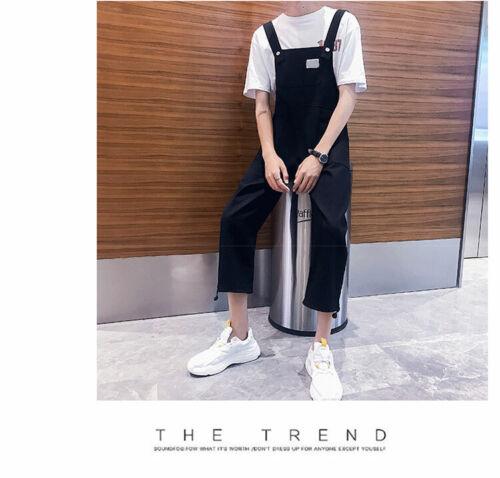 New Mens Casual Cotton Jumpsuits Overalls Bib Pants Suspenders Romper Trousers