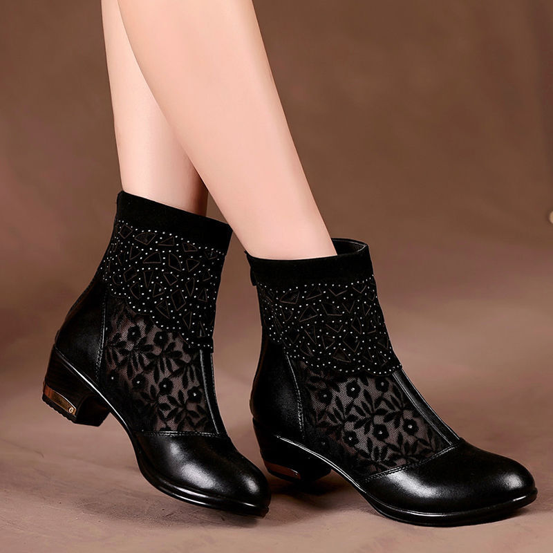 Hot Womens Ladies Chunky Low Heel Hollow Out Lace Casual Ankle Boots shoes Size
