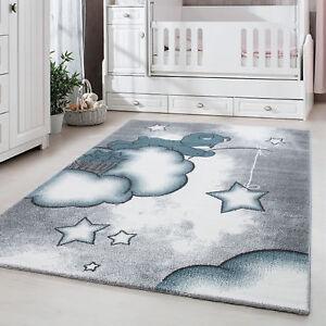 Détails sur Tapis enfant chambre enfant chambre bébé Ours mignon avec  étoile Gris Bleu Blanc