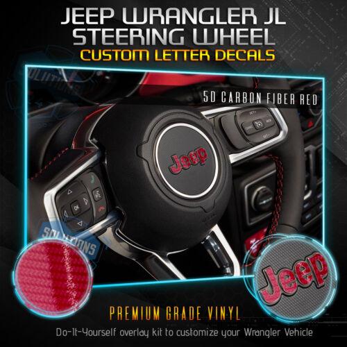 Steering Wheel Decal Overlay For JEEP Logo 2018 Wrangler JL Glossy Carbon Fiber
