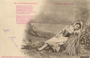 Carte Postale Fantaisie Poesie Vieille Chanson La Petite Jeanneton Ebay