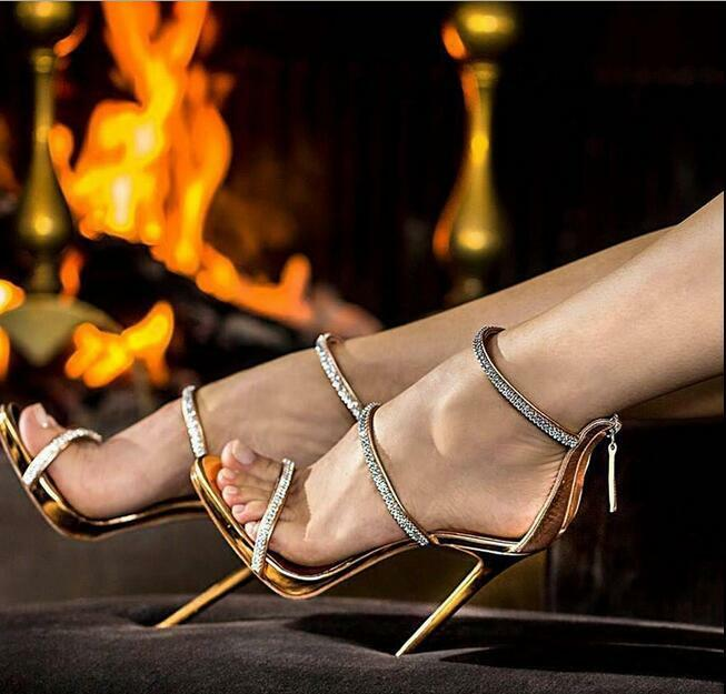 Womens Open Toe Rhinestone Stilettos Sandals Rome Ankle Strap Zipper High Heel