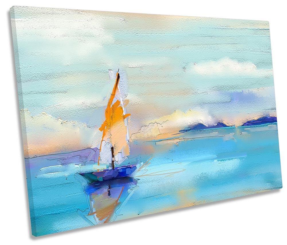 Blu Vela Barca Mare REPRO Singolo a Muro opera opera opera d'arte art print 6b0157