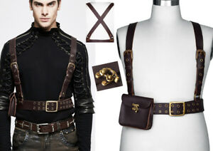 9035607e6c1d51 Das Bild wird geladen Steampunk-Leder-Hosentraeger-Guertel -Harness-Gothic-Punk-Tasche-