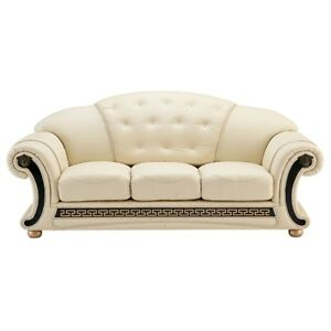 Details About Ivory Italian Leather Couch Genuine Top Grain White On Tufted Sofa