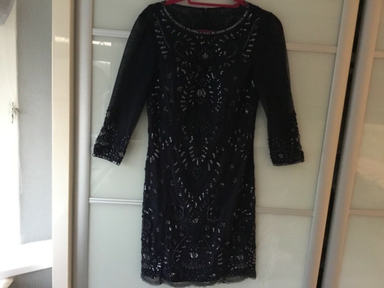 Adrianna papell navy sequin and bead embellished evening dress size 10 bnwt