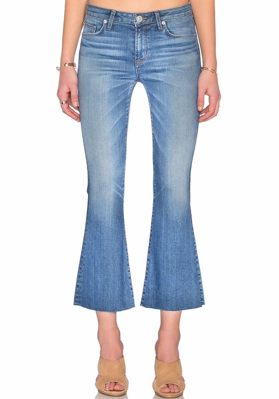 Nwt Hudson Sz30 Mia Fünf Pkt Schlaghose Abgeschnitten W   Roh Saum Midrise Jeans