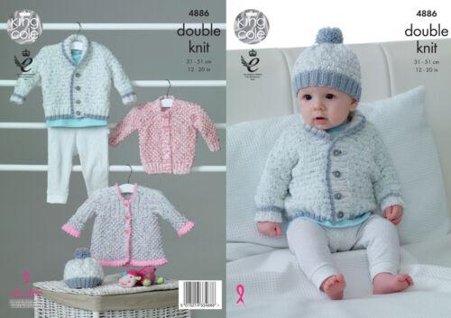 King Cole Baby Double Knitting Pattern Jacket Cardigan Matinee Coat /& Hat 4886