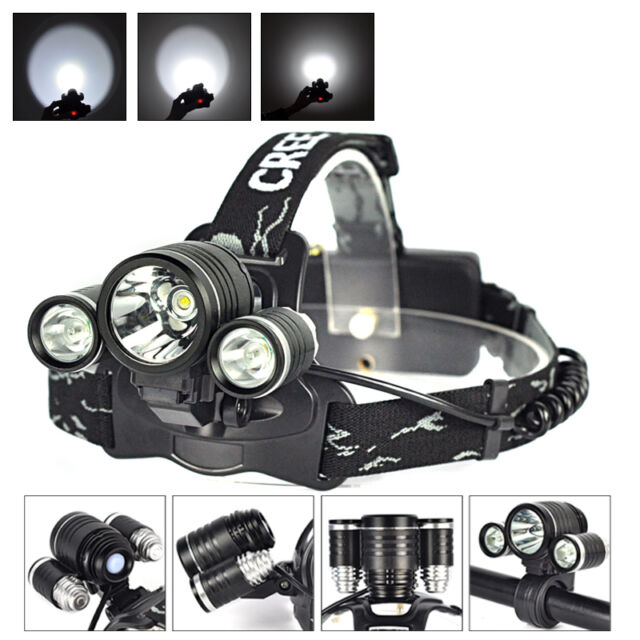 Rechargeable 3X XM-L T6+2 R5 LED 12000LM Bicycle Head Light 18650 Headlamp Torch