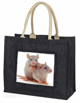 Silber blaue Ratten große schwarze Einkaufstasche Weihnachten