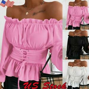 Women Ruffle Sexy Off The Shoulder T Shirt Ladies Casual Long Sleeve Blouse Tops
