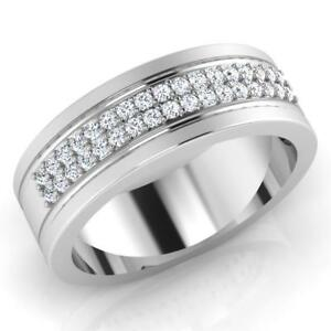 0-28-Ct-Round-Natural-Diamond-Wedding-Mens-Ring-14K-White-Gold-Band-Size-U