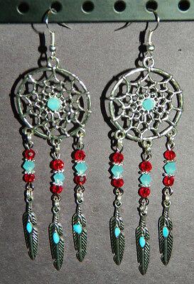 Crystal Silver Southwest Dream Catcher Dangle Pierced Earrings Red Aqua Feathers