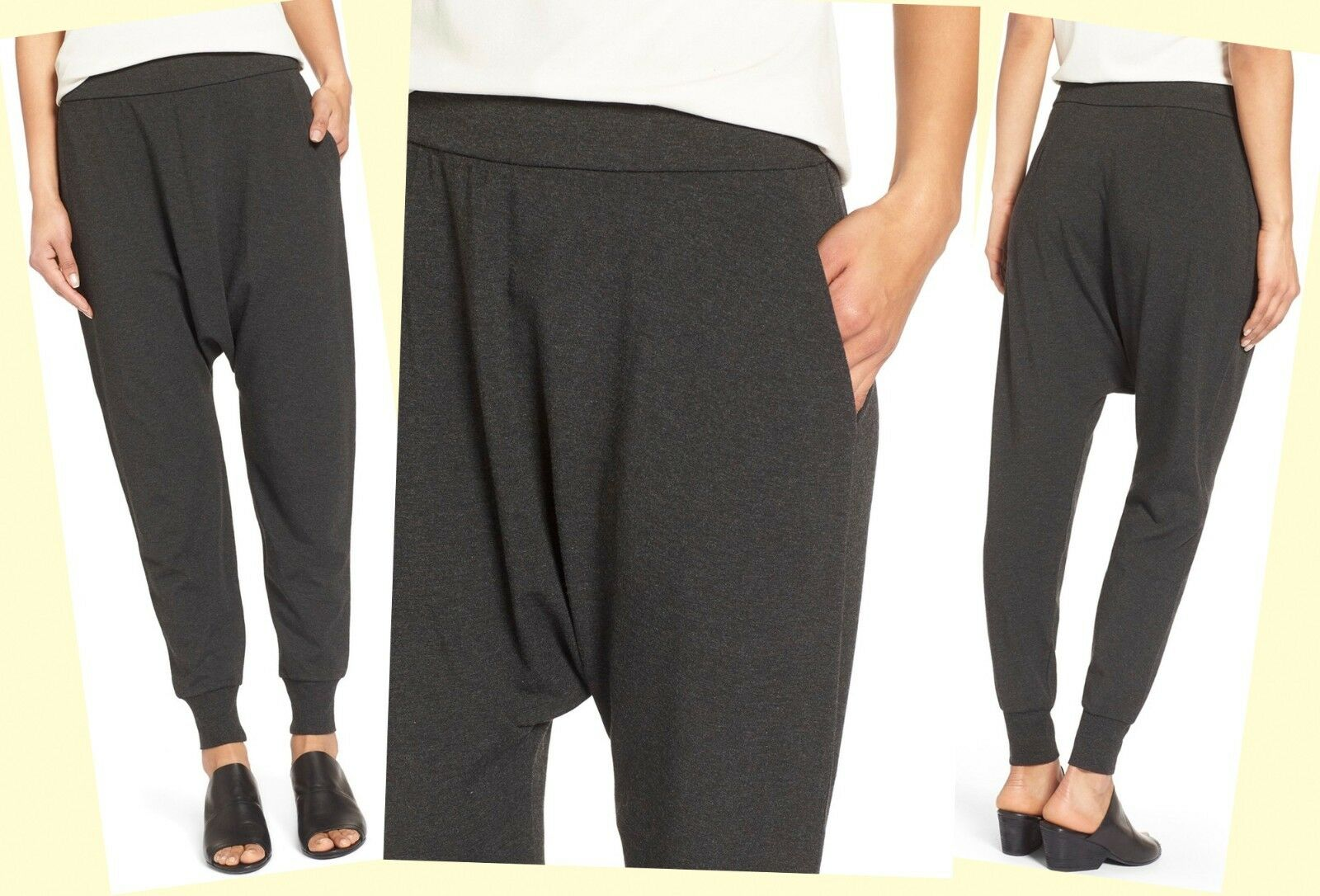 178 Eileen Fisher Cozy Viscose Stretch Slouchy Harem Inspired Ankle Pants
