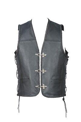 Motorcycle motorbike Nubuck leather buckle waist coat biker vest