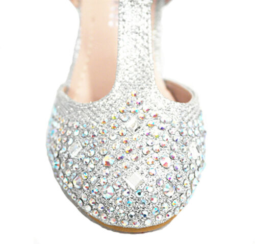 New Girls Youth Cute Pageant Jewel Rhine Stone Mary Jane High Heel Dress Shoes