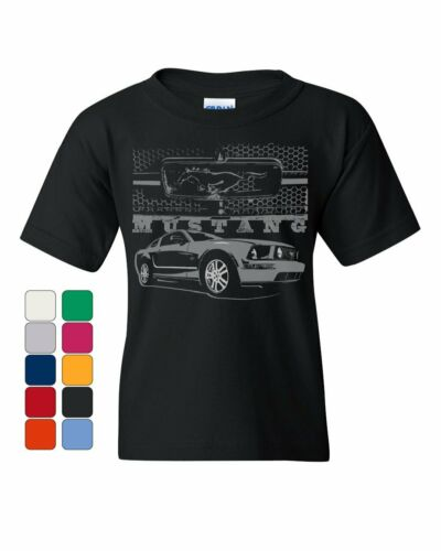 Ford Honeycomb Grille Youth T-Shirt Mustang Silhouette US Muscle Car Kids Tee
