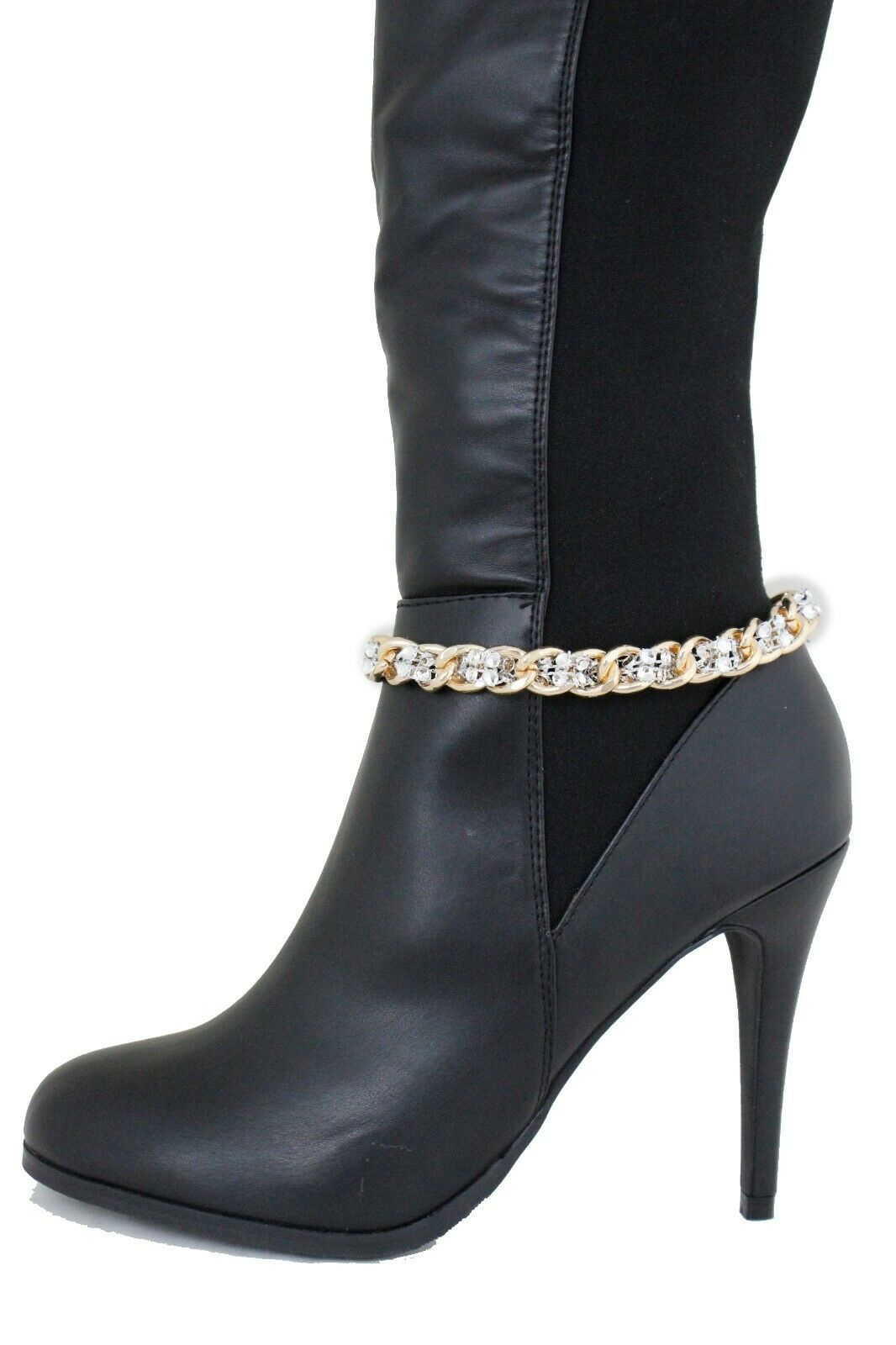 Women Youth Boot Bracelet Gold Metal Chain Bling Anklet Shoe Silver Mesh Beads