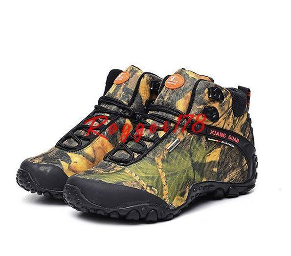 Sneakers Mens shoes Camouflage Climbing Outdoor Hiking High Top Ankle Boots #