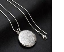 Women's 925 Sterling Silver Vintage Photo Locket Pendant Necklace Jewellery