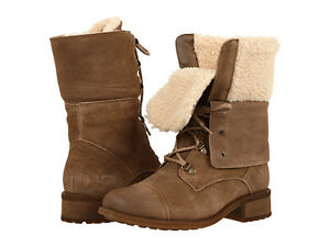 b7f16c8aa1d Details about Women's Shoes UGG Gradin Lace Up Combat Boots 1013421 Dark  Chestnut *New*
