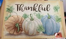 """19/""""x27/"""" FALL HARVEST 3 COLORFUL PUMPKINS,THANKFUL,Windham TAPESTRY KITCHEN RUG"""